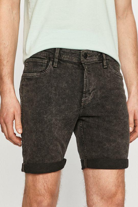 sivá Produkt by Jack & Jones - Rifľové krátke nohavice Pánsky