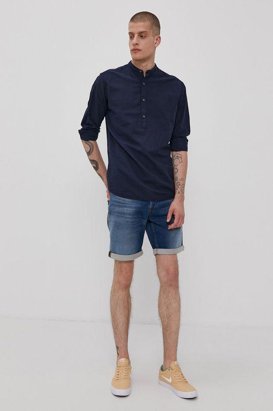 Jack & Jones - Rifľové krátke nohavice modrá