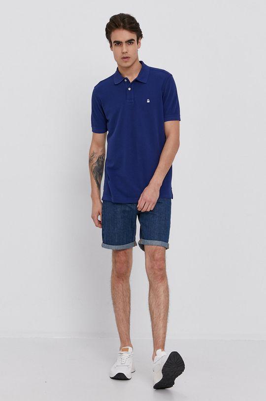 United Colors of Benetton - Bavlnené rifľové šortky modrá