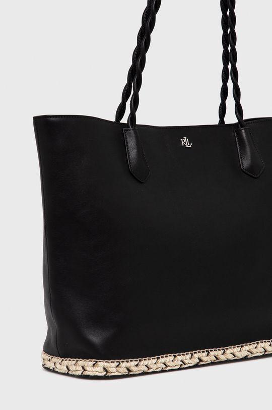 Lauren Ralph Lauren - Kožená kabelka čierna