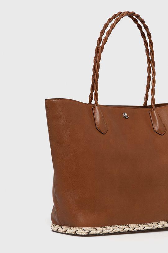 Lauren Ralph Lauren - Kožená kabelka hnedá