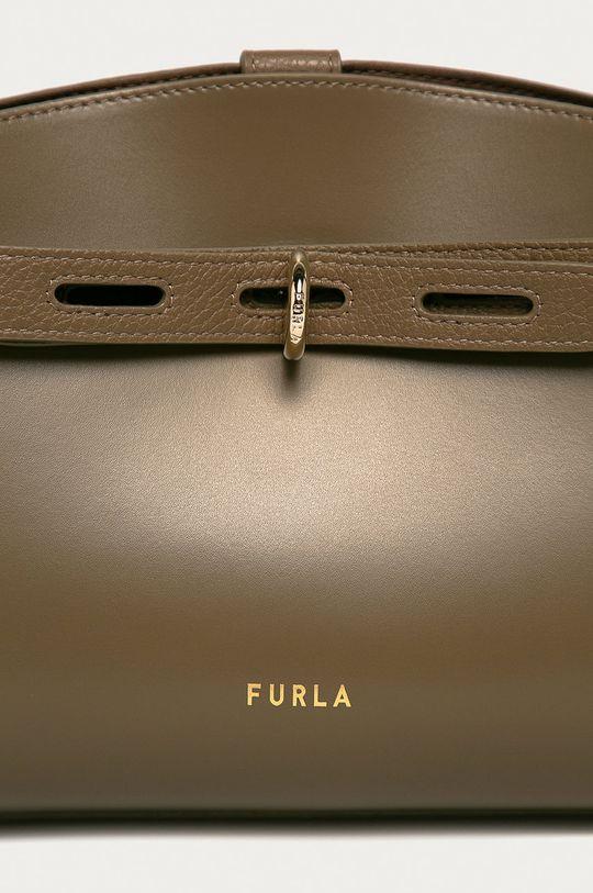 Furla - Kožená kabelka Marherita hnedozelená