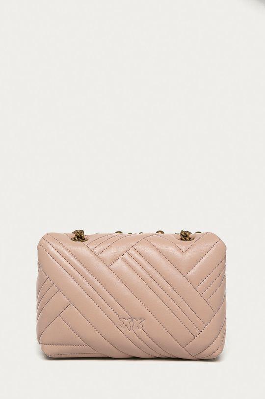 Pinko - Kožená kabelka ružovo-červená