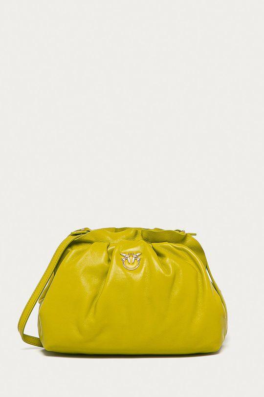 žlutě zelená Pinko - Kožená kabelka Dámský