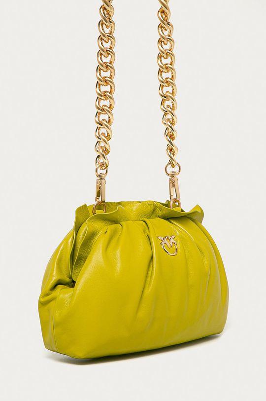Pinko - Kožená kabelka žlutě zelená