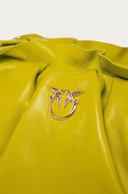 žlutě zelená Pinko - Kožená kabelka
