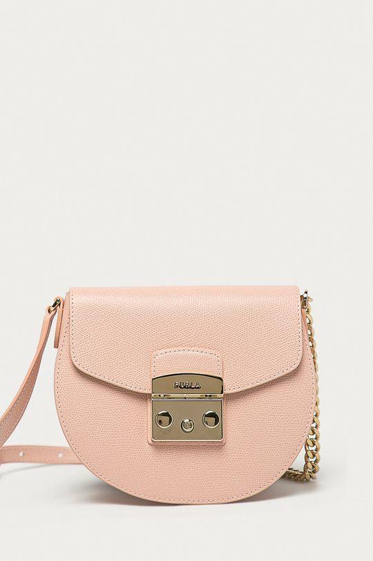 růžová Furla - Kožená kabelka Metropolis Dámský