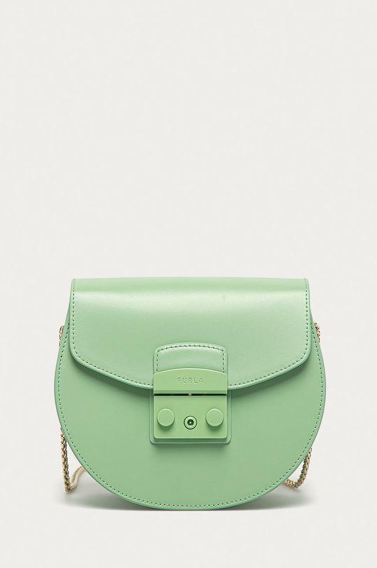 světle zelená Furla - Kožená kabelka Metropolis Mini Dámský