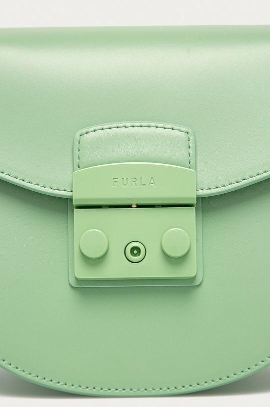 světle zelená Furla - Kožená kabelka Metropolis Mini