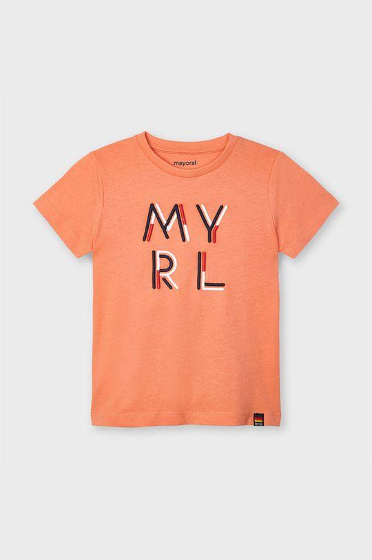 Mayoral - T-shirt dziecięcy koralowy