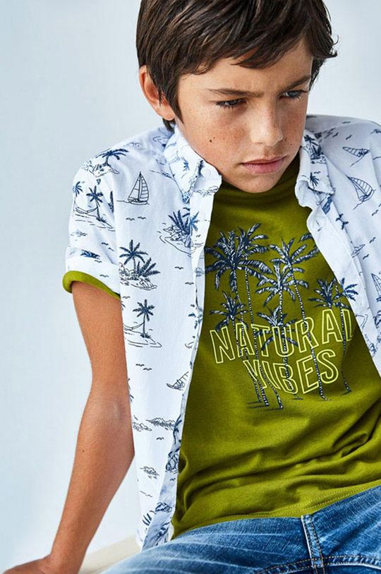 Mayoral - Detské tričko svetlá olivová