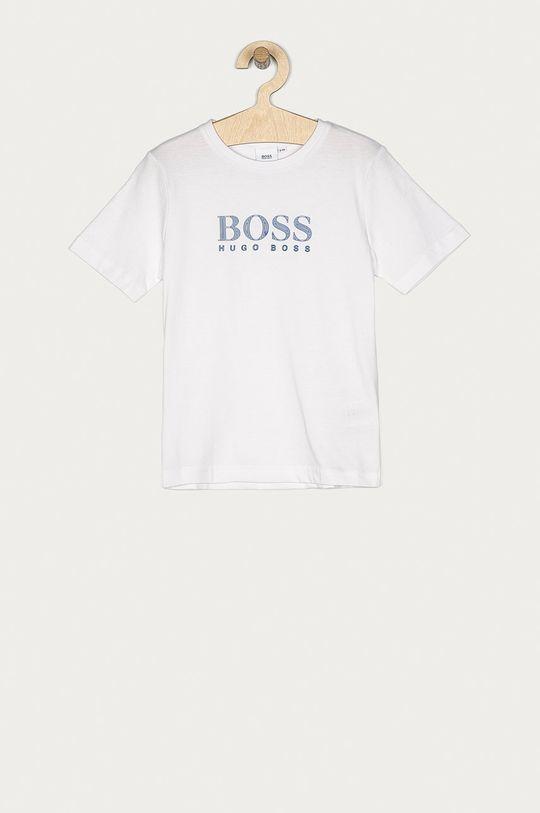 biały Boss - T-shirt dziecięcy Chłopięcy