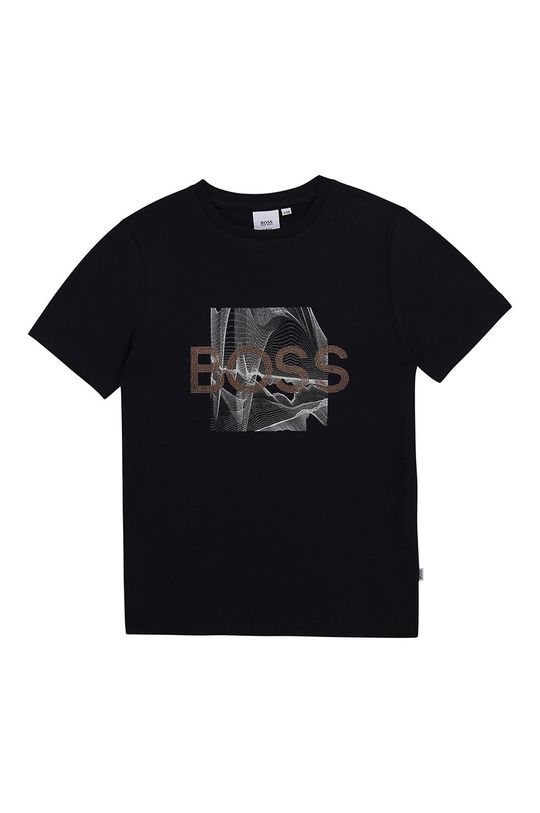 granatowy Boss - T-shirt dziecięcy Chłopięcy