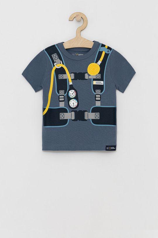 niebieski GAP - T-shirt bawełniany dziecięcy Chłopięcy