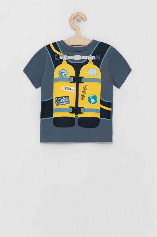 GAP - T-shirt bawełniany dziecięcy niebieski
