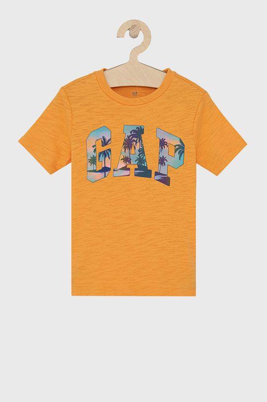 pomarańczowy GAP - T-shirt bawełniany dziecięcy Chłopięcy