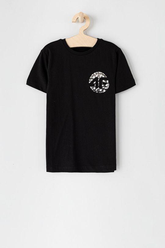 czarny 4F - T-shirt dziecięcy Chłopięcy