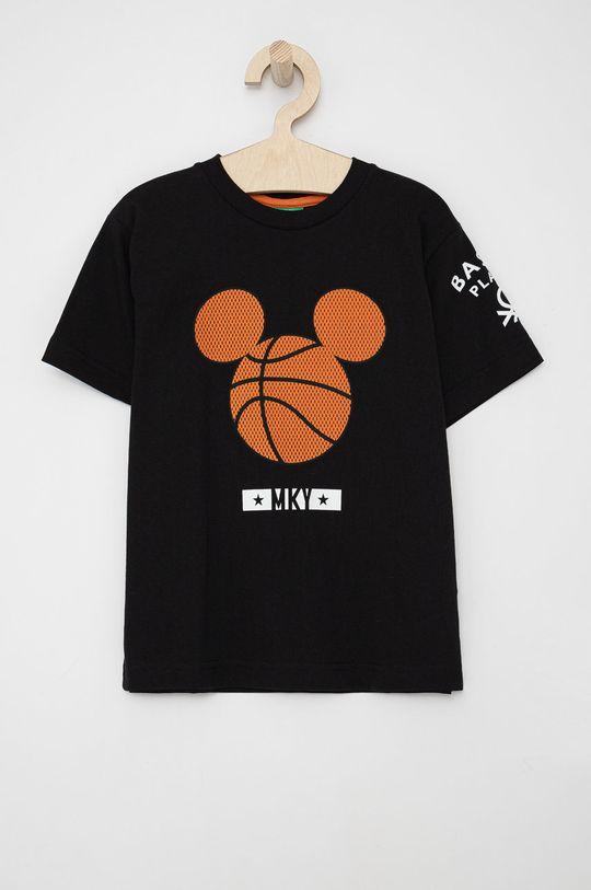 czarny United Colors of Benetton - T-shirt bawełniany dziecięcy Chłopięcy