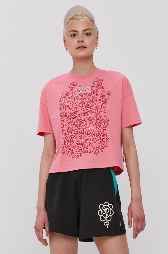 ostry różowy Puma - T-shirt x Mr Doodle Damski