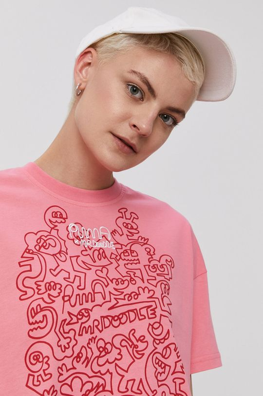ostry różowy Puma - T-shirt x Mr Doodle