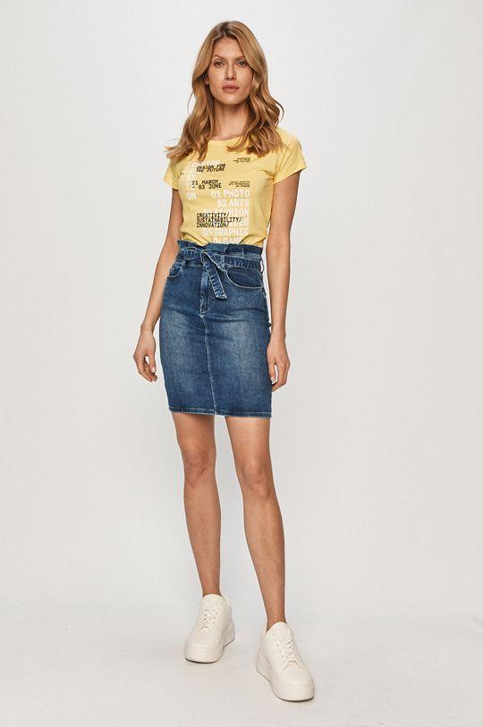 Jacqueline de Yong - T-shirt jasny żółty
