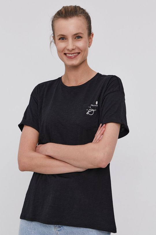 czarny Protest - T-shirt Damski