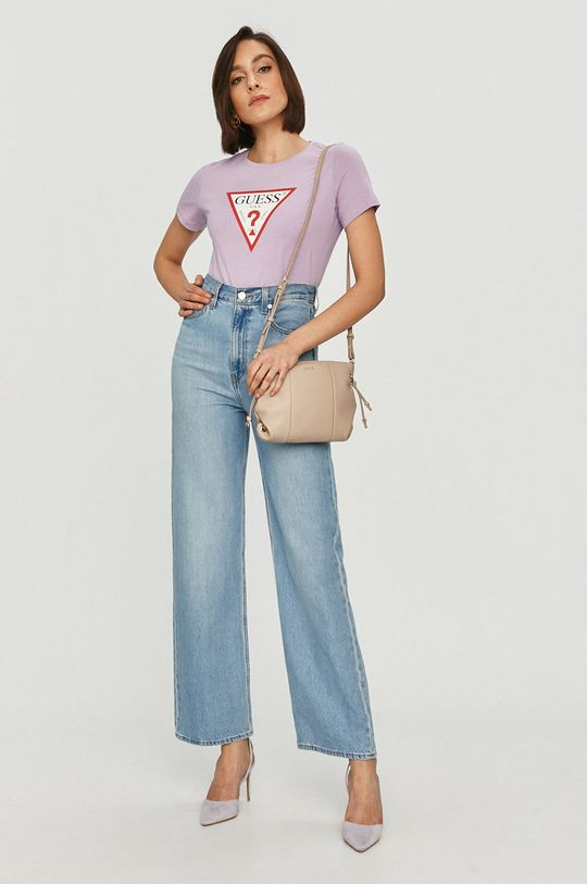 Guess - T-shirt lawendowy