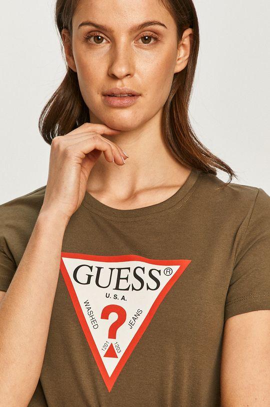 olivová Guess - Tričko