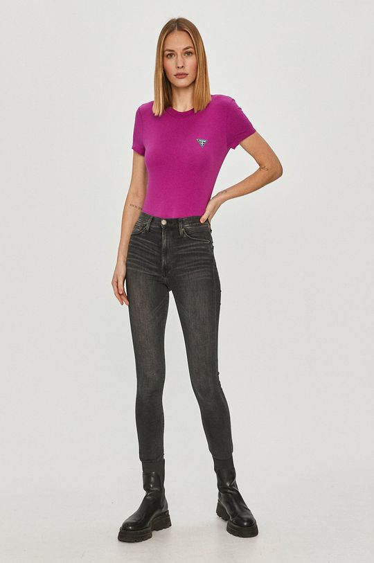 Guess - T-shirt fioletowy
