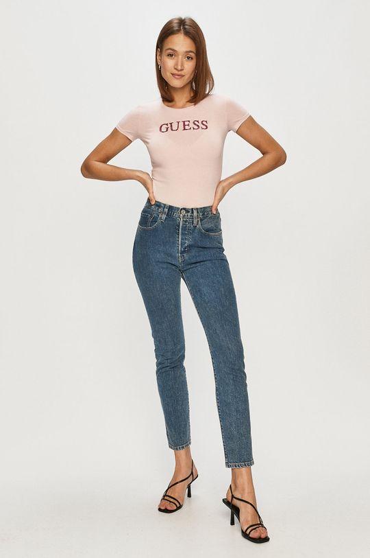 Guess - Tričko pastelová ružová