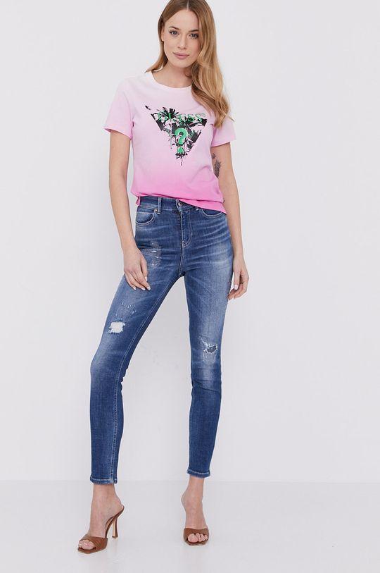 Guess - T-shirt ostry różowy