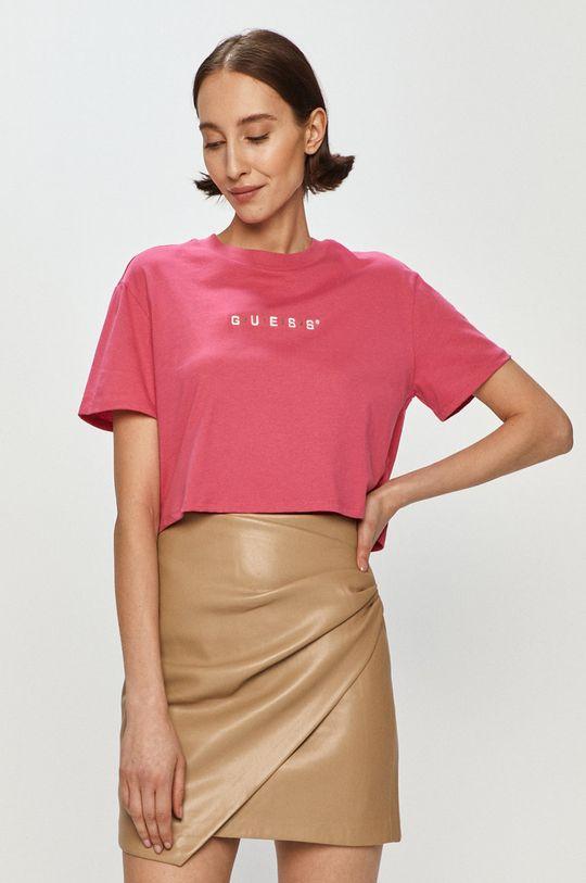 różowy Guess - T-shirt Damski
