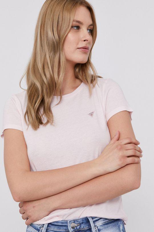 pastelowy różowy Guess - T-shirt Damski