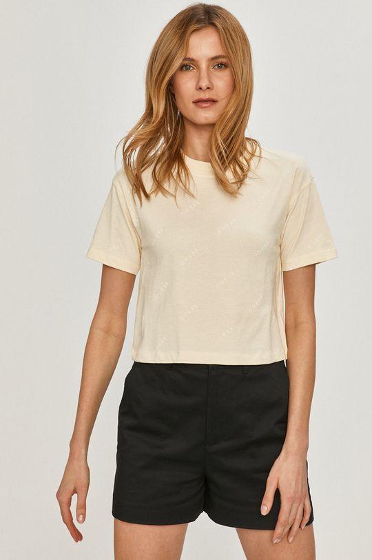 kremowy Guess - T-shirt Damski