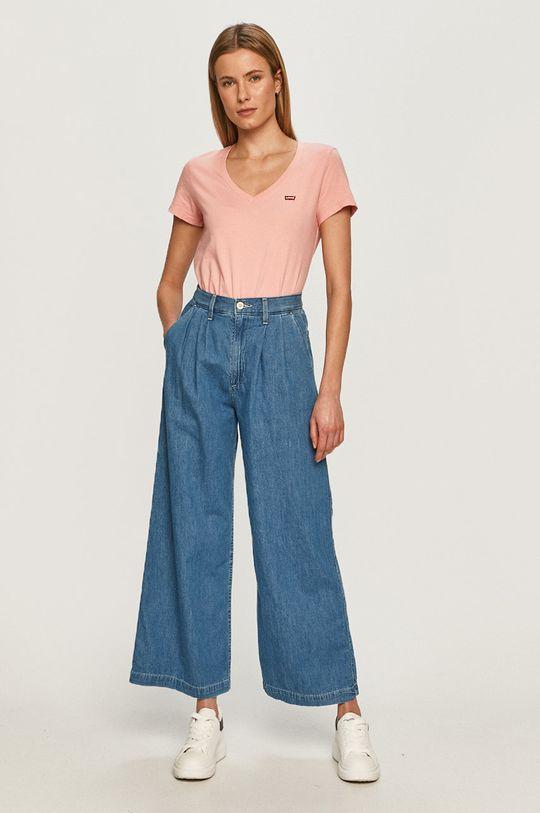 Levi's - T-shirt pastelowy różowy