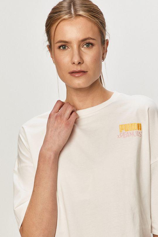biały Puma - T-shirt X Peanuts