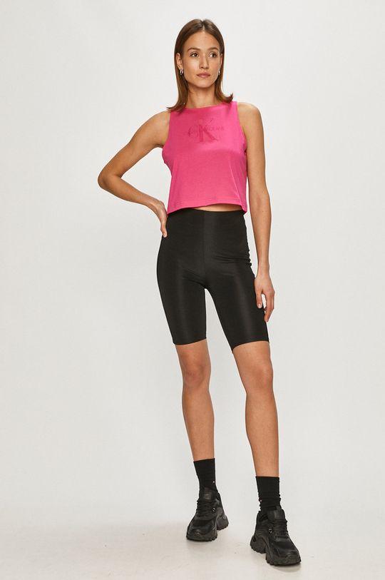 ostry różowy Calvin Klein Jeans - T-shirt Damski