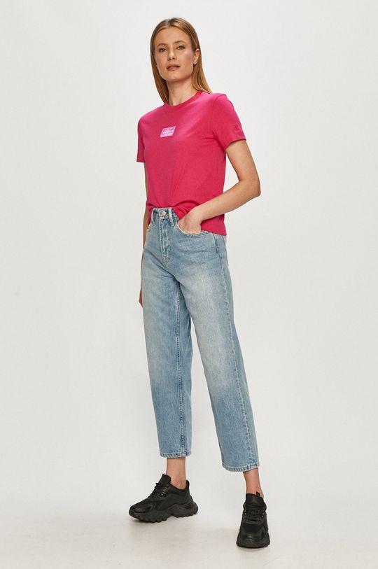 Calvin Klein Jeans - T-shirt ostry różowy