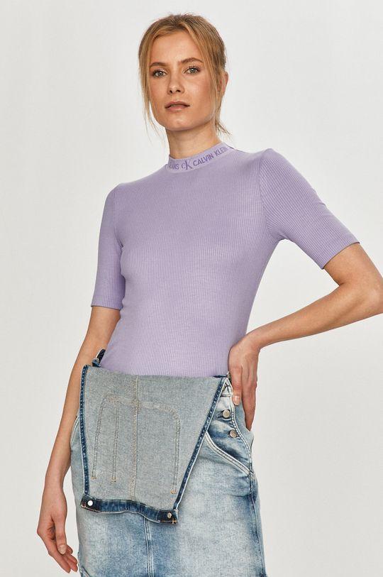 červenofialový Calvin Klein Jeans - Tričko Dámsky