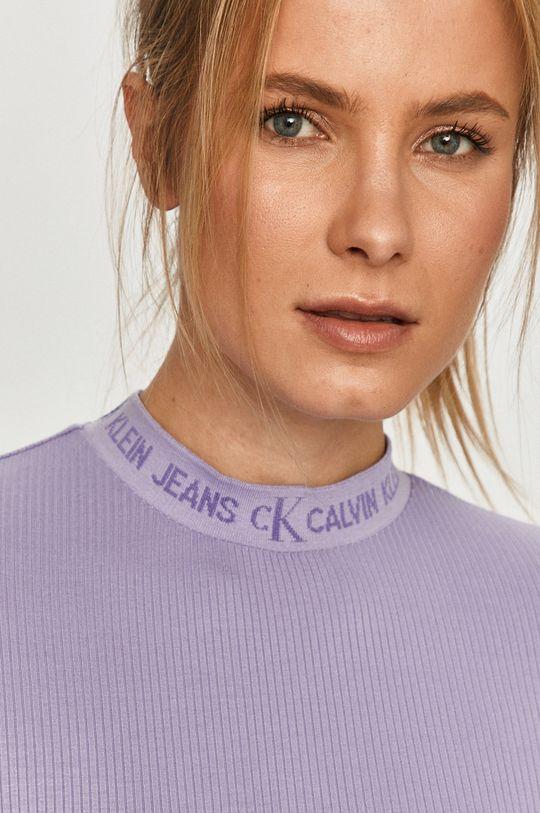 červenofialový Calvin Klein Jeans - Tričko