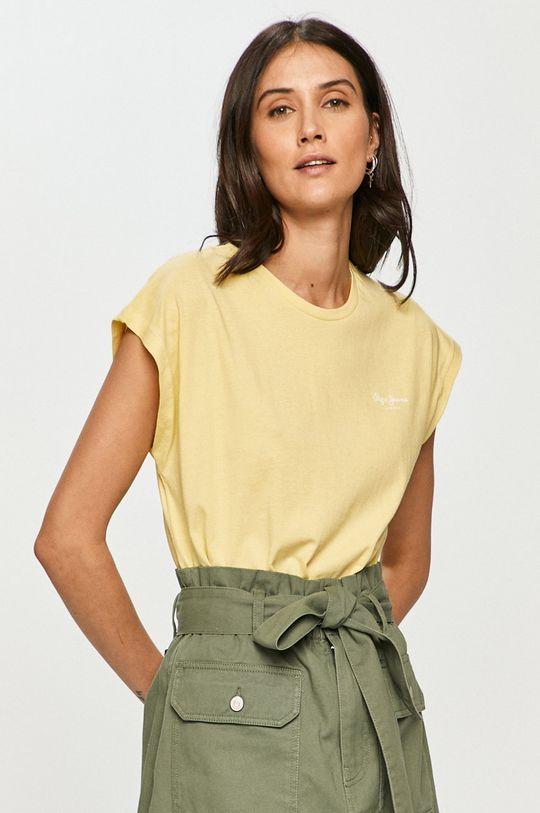 żółty Pepe Jeans - T-shirt Bloom Damski