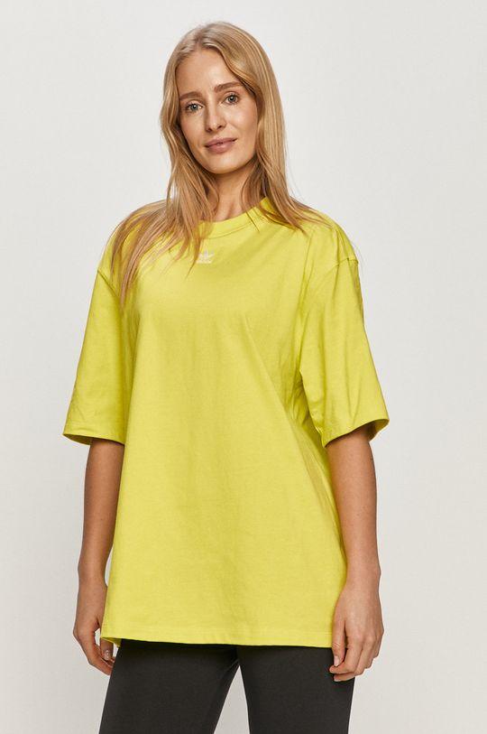 žlutě zelená adidas Originals - Tričko Dámský