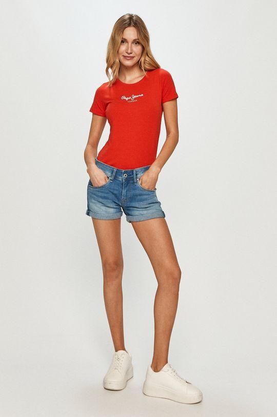 Pepe Jeans - Tričko New Virginia červená