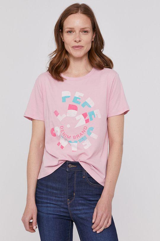 różowy Pepe Jeans - T-shirt Dree Damski