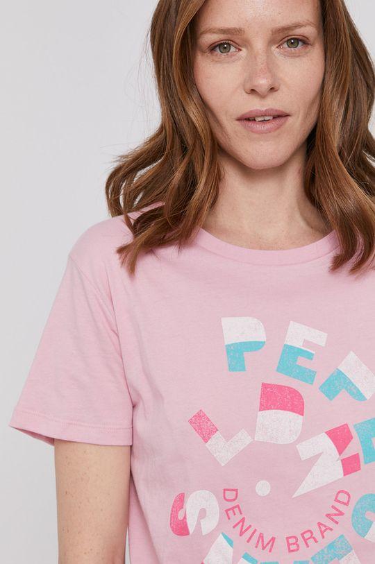 różowy Pepe Jeans - T-shirt Dree