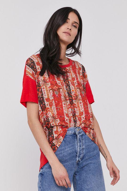 czerwony Desigual - T-shirt Damski