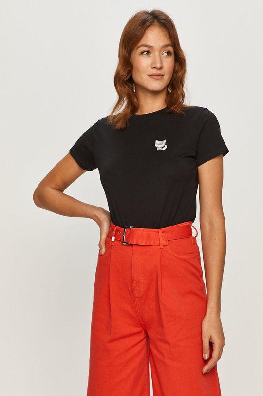 czarny Karl Lagerfeld - T-shirt Damski