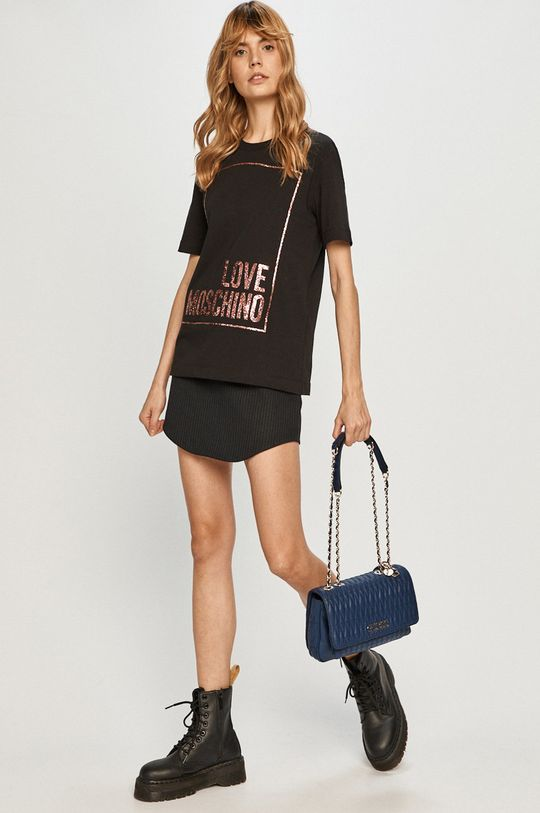 czarny Love Moschino - T-shirt Damski