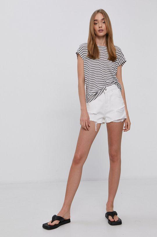 Vero Moda - T-shirt 12 % Len, 88 % Poliester z recyklingu