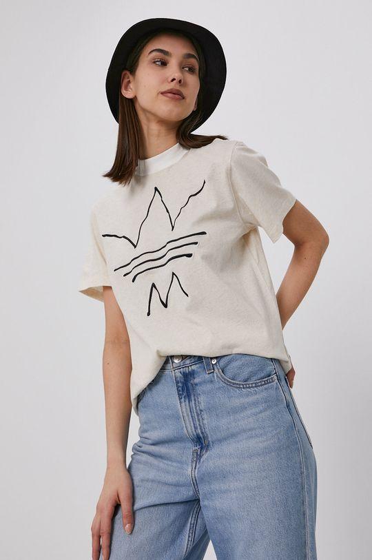 beżowy adidas Originals - T-shirt Damski